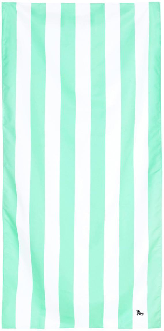 Microfaser-Strandtuch Cabana, schnell trocknend, Microfaser (80% Polyester, 20% Polyamid), Mintgrün, Weiß, 90 x 200 cm