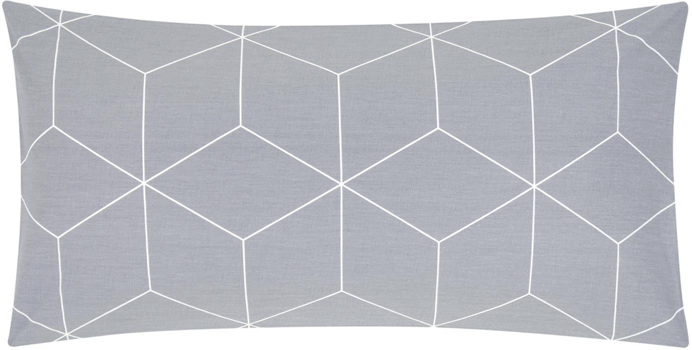 Poszewka na poduszkę z bawełny renforcé Lynn, 2 szt., Szary, kremowy, S 40 x D 80 cm
