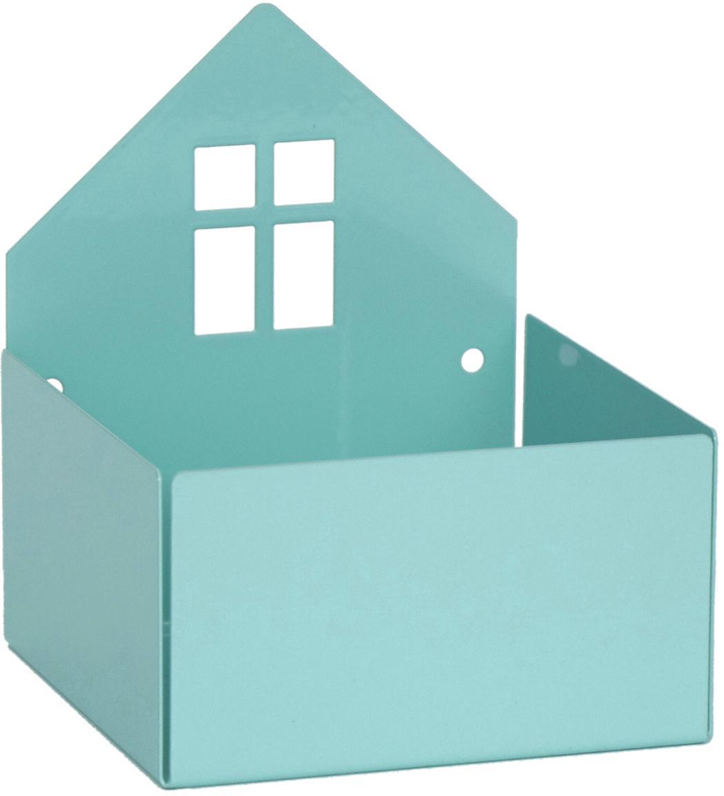 Pudełko do przechowywania Town House, Metal malowany proszkowo, Niebieski, S 11 x W 13 cm