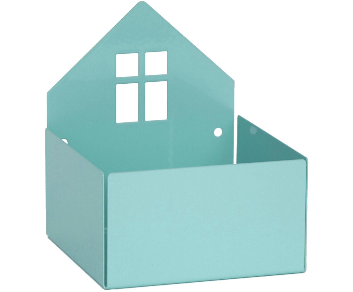 Opbergdoos Town House, Gepoedercoat metaal, Blauw, 11 x 13 cm