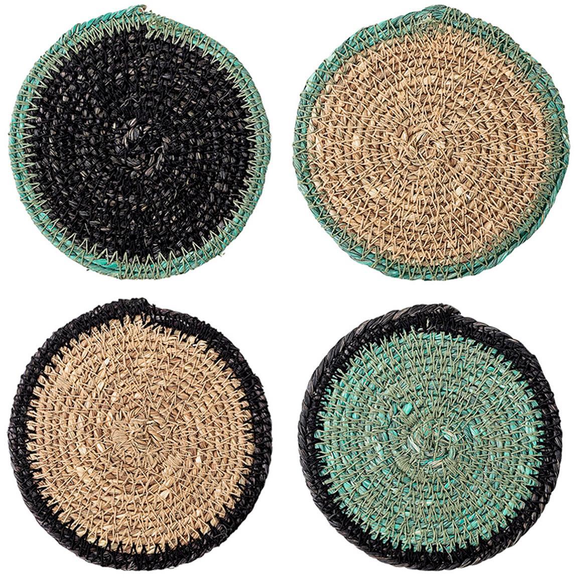 Set 5 sottobicchieri Seagrass Costa, Alghe, Beige, verde, nero, Ø 10 x Alt. 1 cm