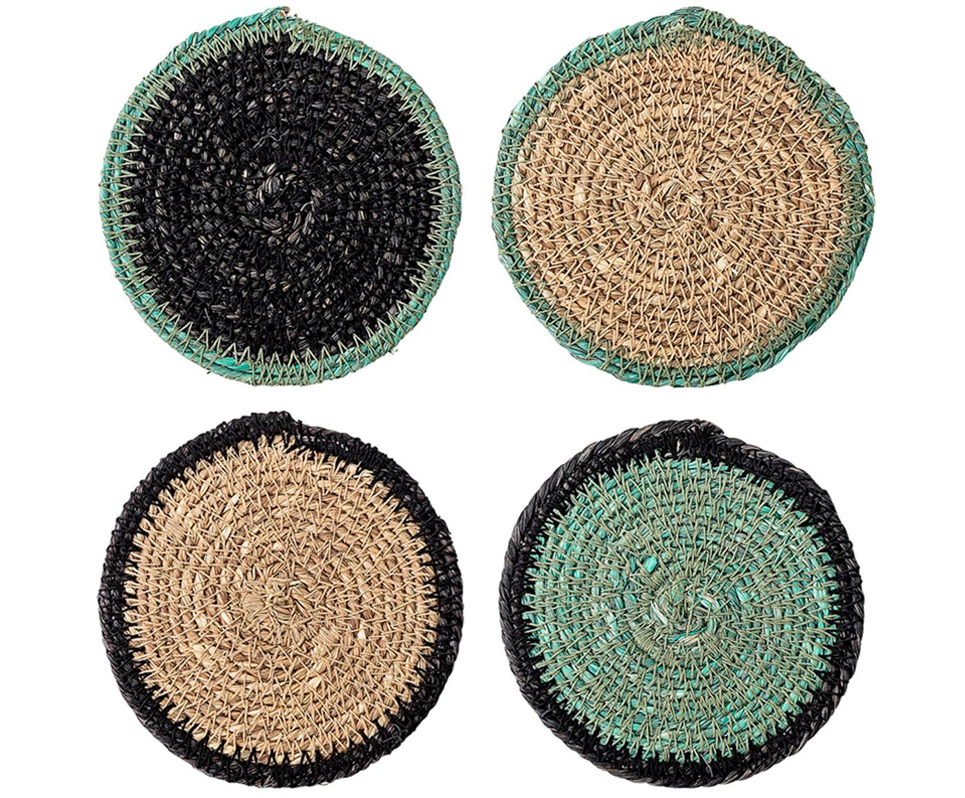 Set de posavasos de seagrass Costa, 5pzas., Seagrass, Beige, verde, negro, Ø 10 x Al 1 cm