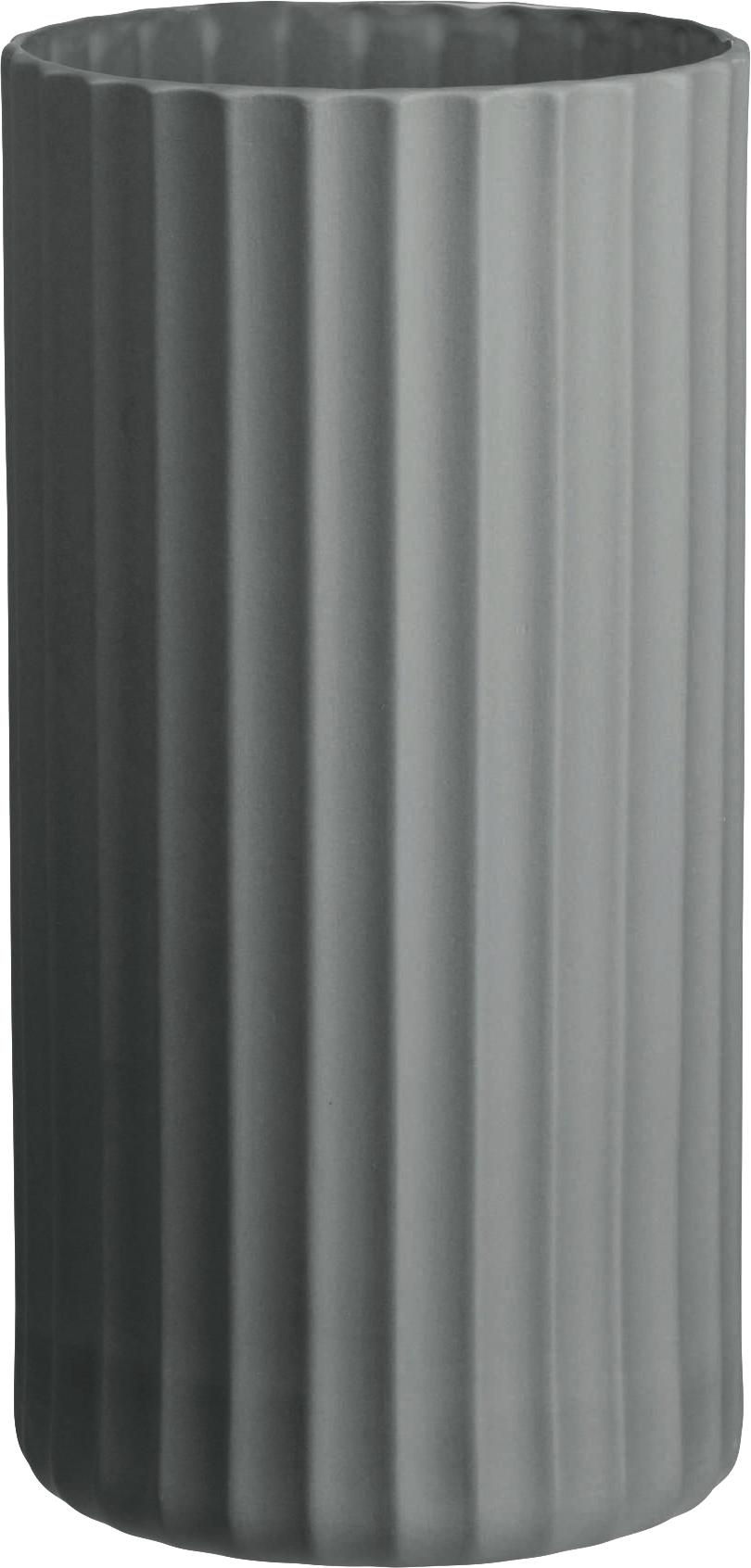 Handgefertigte Vase Yoko aus Porzellan, Porzellan, Grau, Ø 12 x H 24 cm