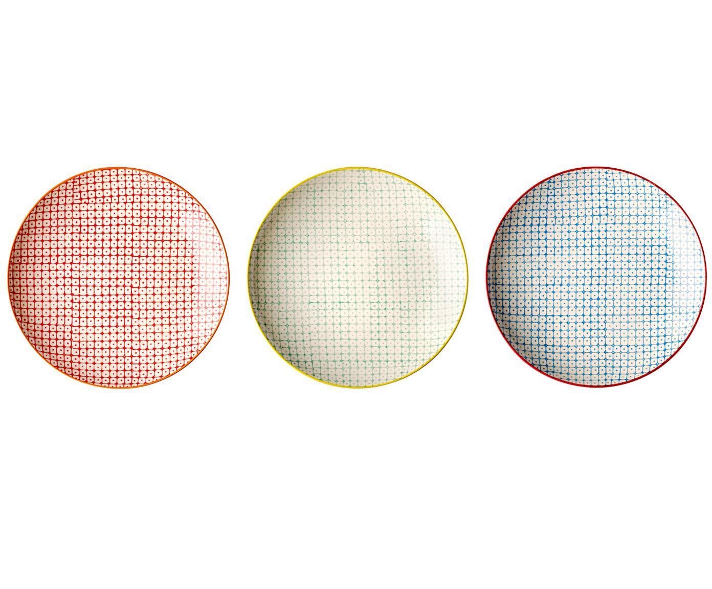 Set de platos postre Carla, 3pzas., Cerámica, Rojo, verde, azul, Ø 20 cm