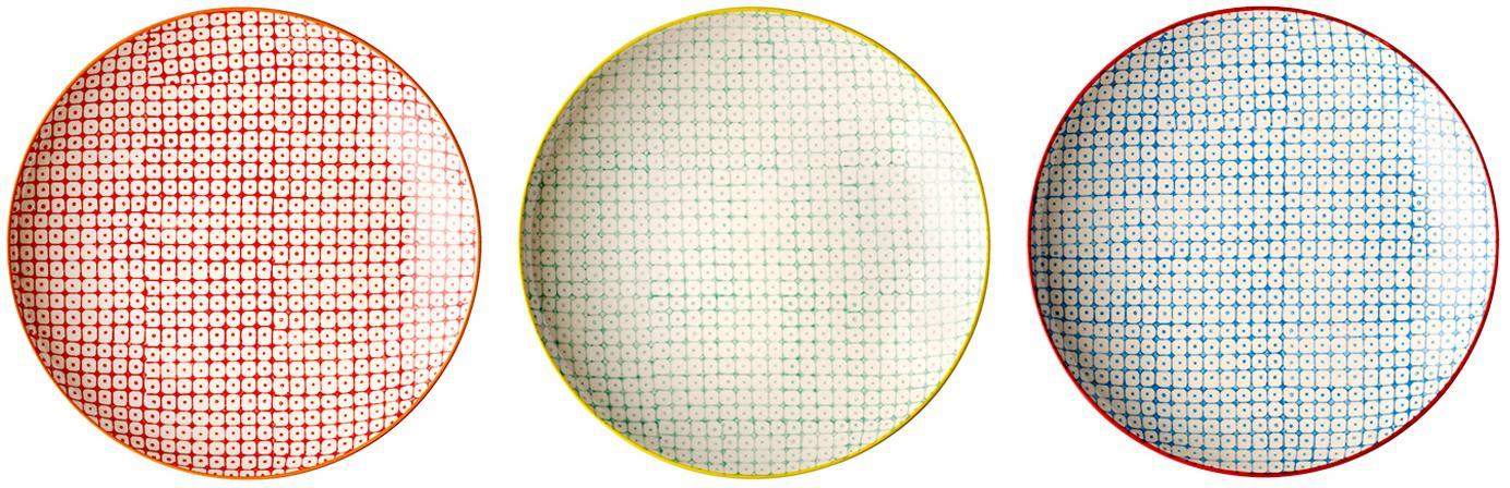 Komplet talerzy śniadaniowych Carla, 3 elem., Ceramika, Czerwony, zielony, niebieski, Ø 20 cm
