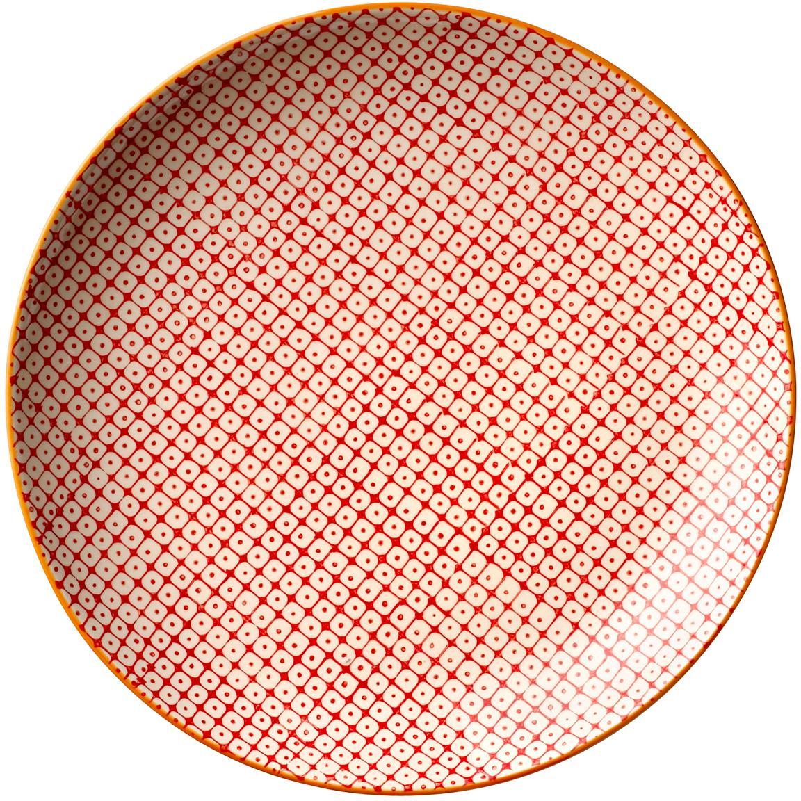 Frühstücksteller Carla mit kleinem Muster, 3er-Set, Keramik, Rot, Grün, Blau, Ø 20 cm