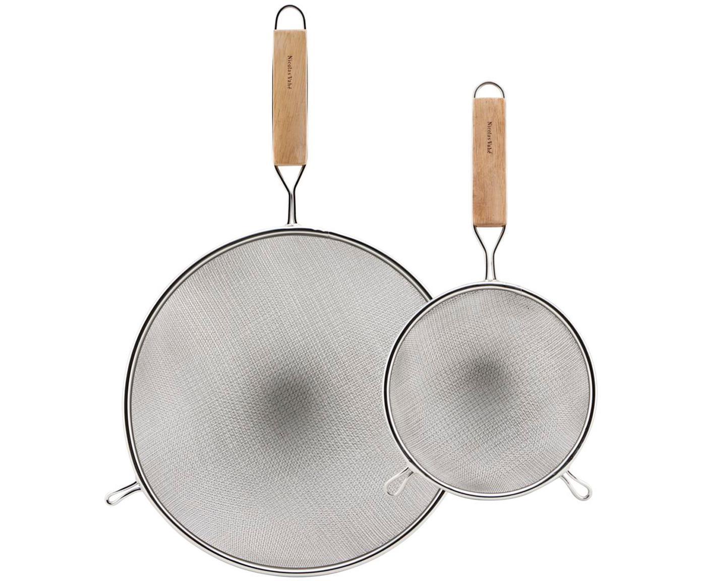 Küchensiebe Paka mit Holzgriff, 2er-Set, Sieb: Edelstahl, Griff: Holz, Edelstahl, Holz, Verschiedene Grössen