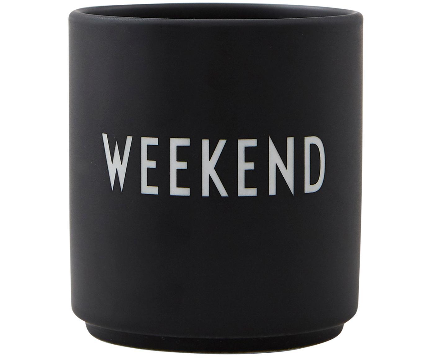 Taza Favourite, Porcelana fina, esmaltado, Negro, blanco, Ø 8 x Al 9 cm