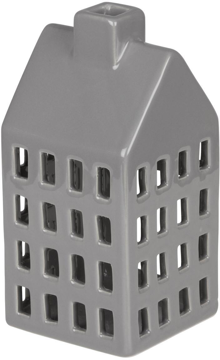 Teelichthalter Hemma, Keramik, Grau, 8 x 16 cm