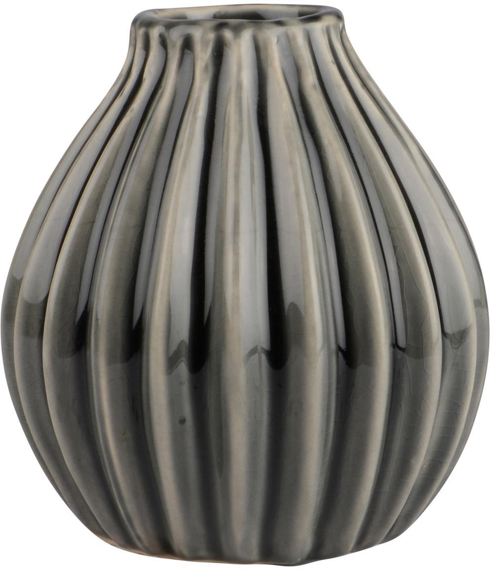 Vase Agnes aus Keramik, Keramik, Grau, Ø 12 x H 13 cm
