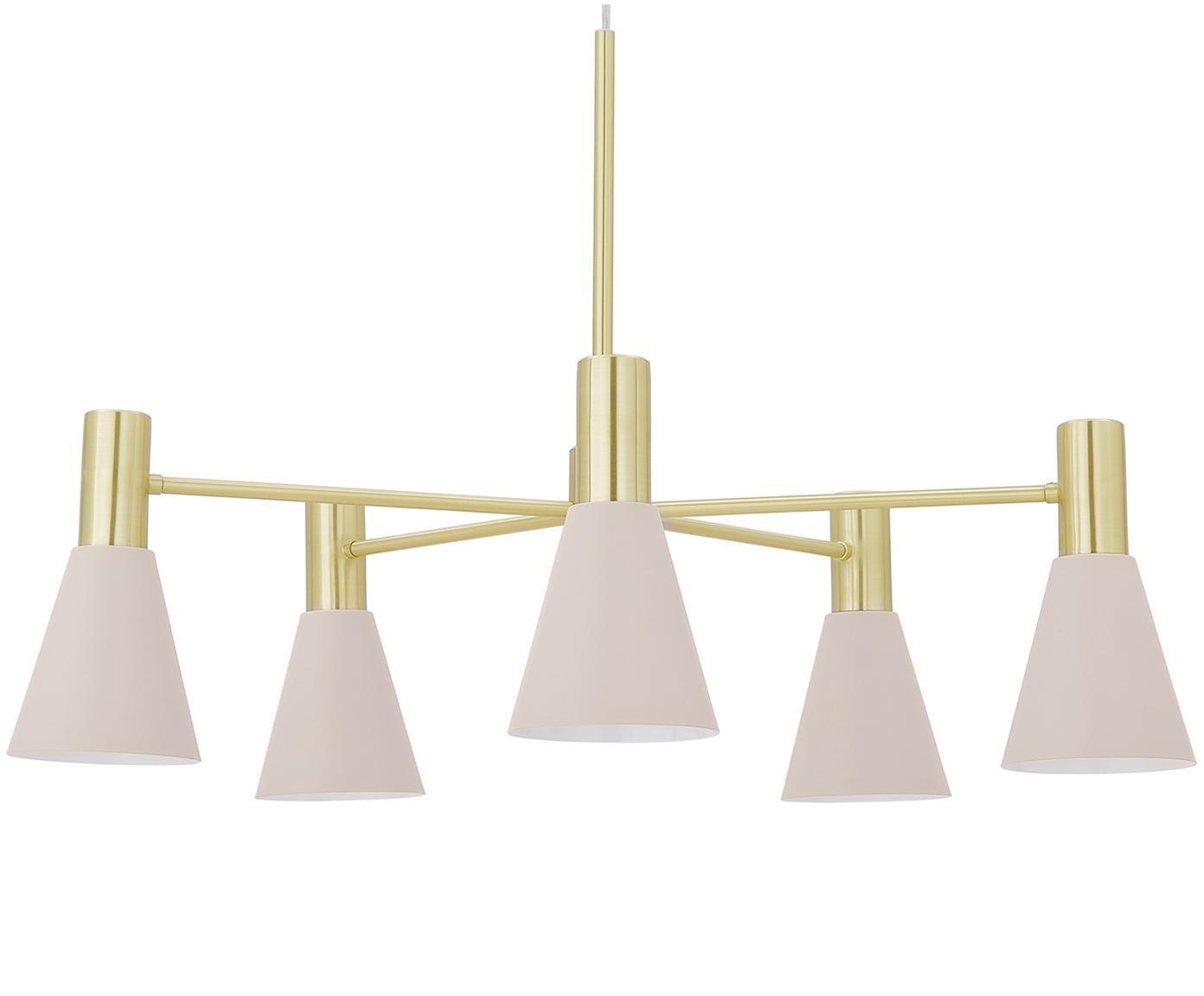 Pendelleuchte Sia, Lampenschirme:Rosa, mattBaldachin und Lampengestell:Messing, gebürstet, Ø 75 cm