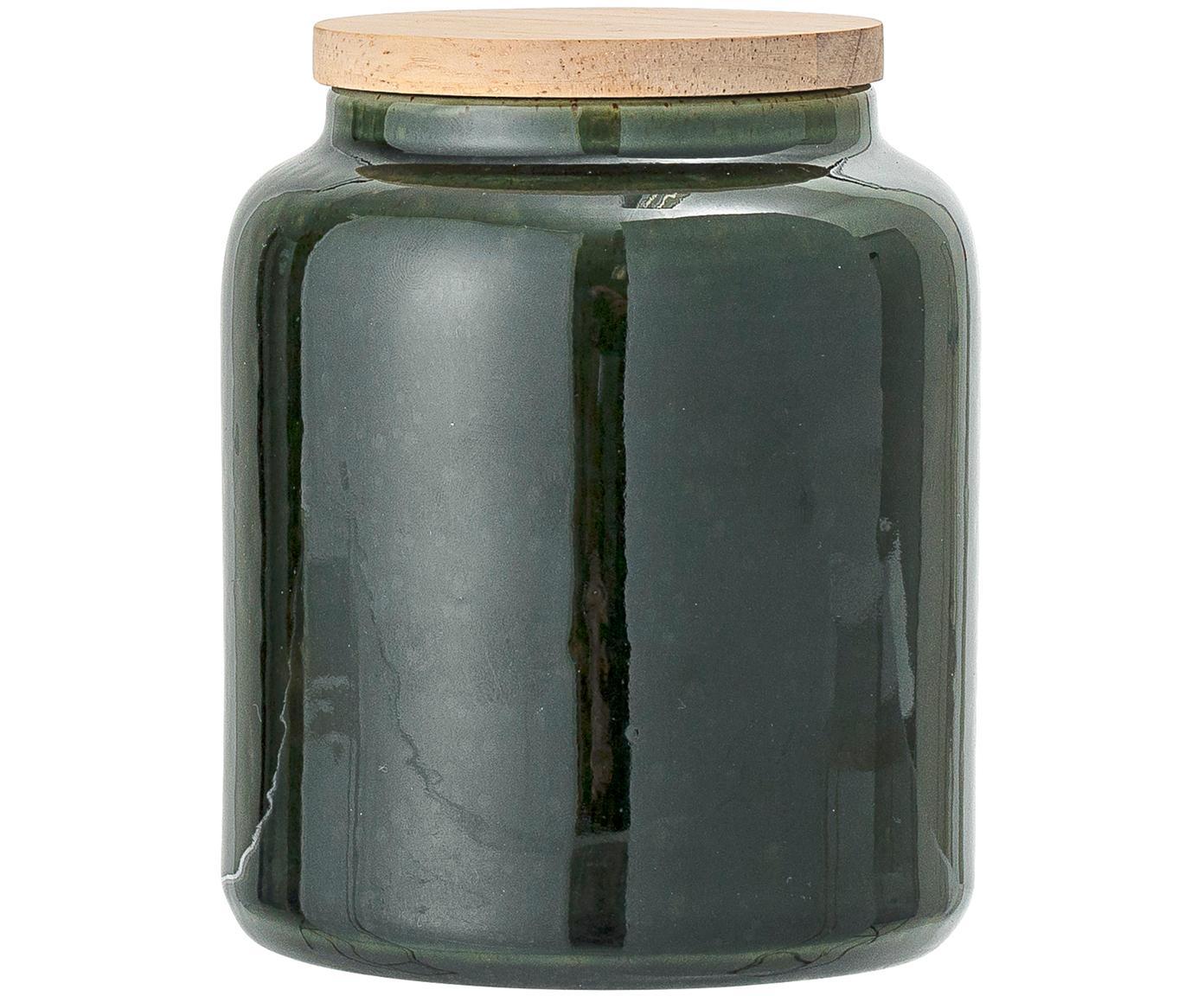 Handgefertigte Aufbewahrungsdose Joelle, Dose: Steingut, Deckel: Akazienholz, Silikon, Dunkelgrün, Ø 10 x H 12 cm