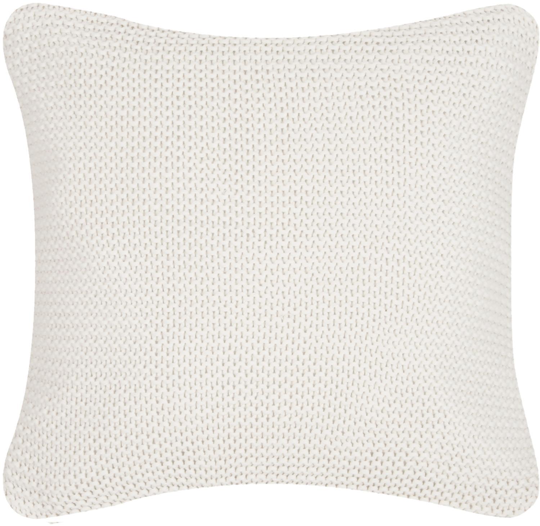 Federa arredo fatta a maglia bianca Adalyn, 100% cotone, Bianco naturale, Larg. 40 x Lung. 40 cm