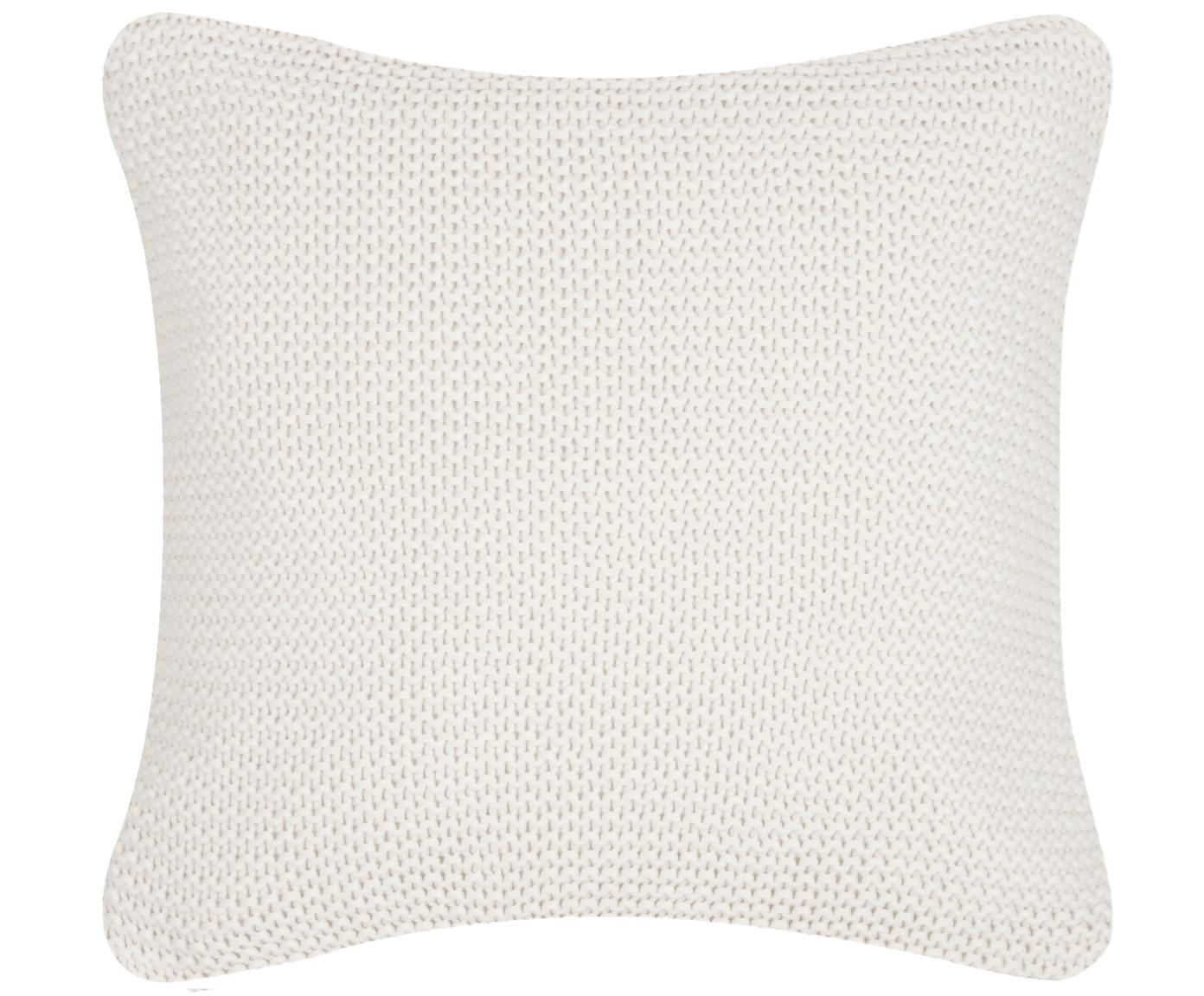 Federa arredo fatta a maglia bianco Adalyn, 100% cotone, Bianco naturale, Larg. 40 x Lung. 40 cm