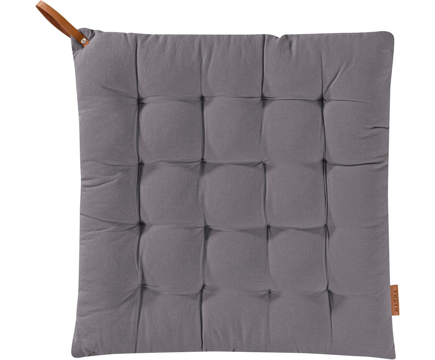 Cojín de asiento Billie, Algodón, Gris antracita, An 40 x L 40 cm