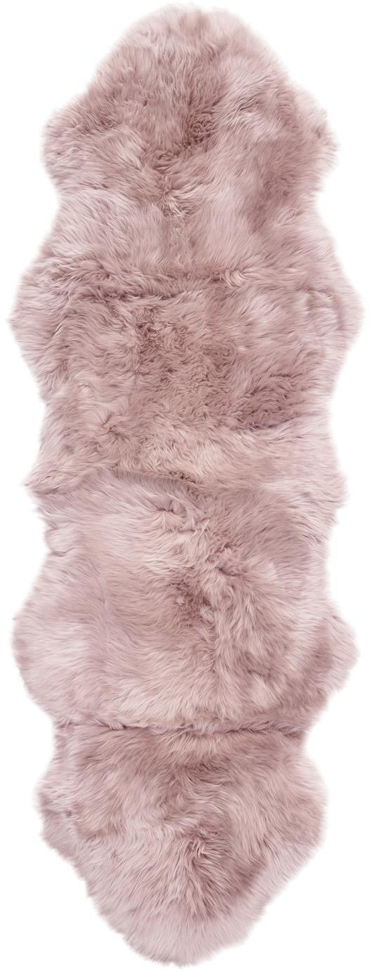 Alfombra de piel de oveja Oslo, Parte delantera: 100%piel de oveja, Parte trasera: 100%cuero cuertido, Rosa, An 60 x L 180 cm