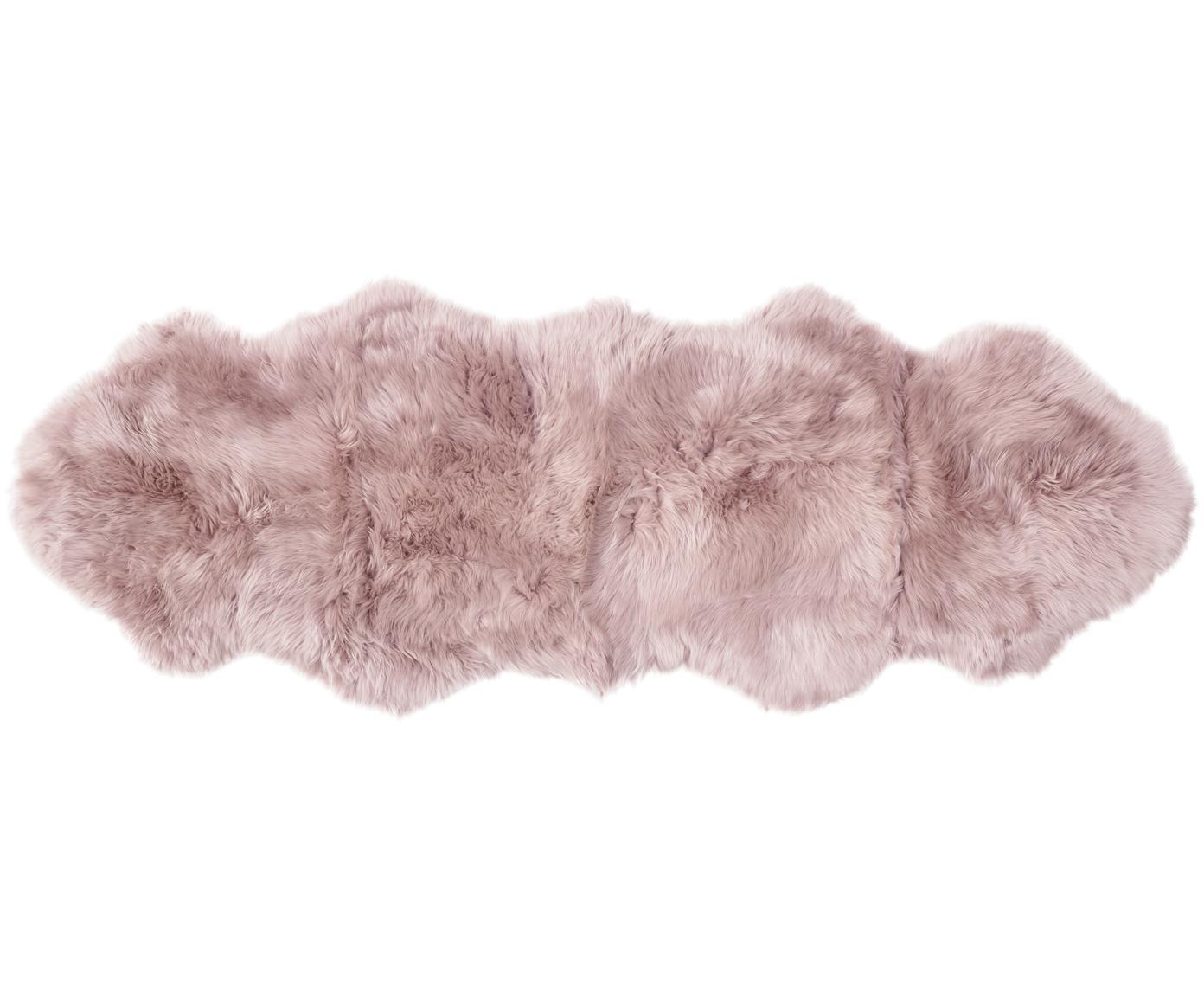 Vloerkleed van schapenvacht Oslo, glad, Bovenzijde: 100% schapenvacht, Onderzijde: 100% leer, chroomvrij gel, Roze, 60 x 180 cm