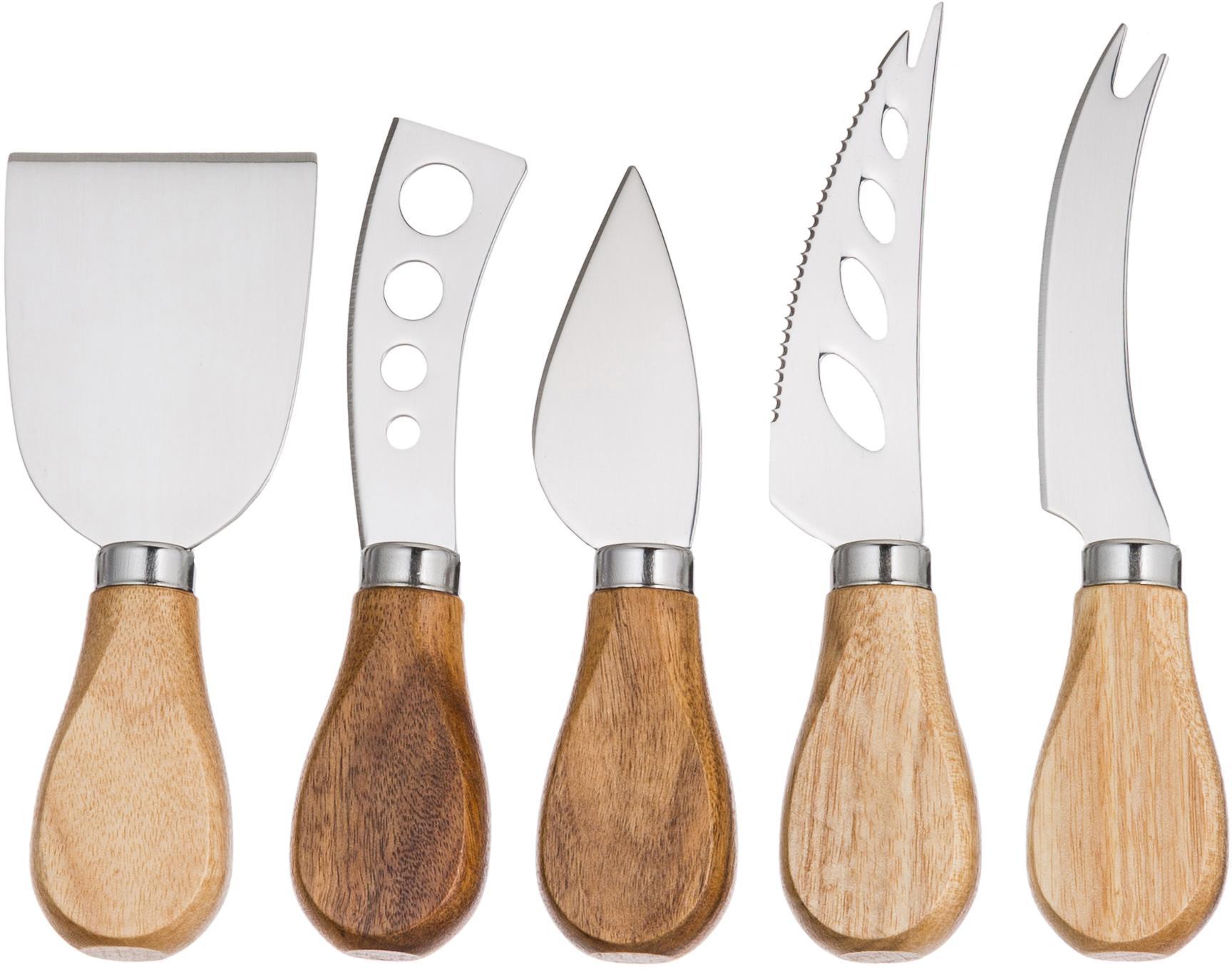 Komplet noży do sera Frija, 5 elem., Drewno akacjowe, stal szlachetna, Komplet z różnymi rozmiarami