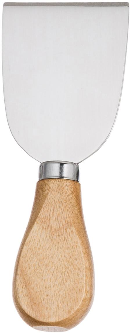 Silbernes Käsemesser-Set Frija aus Edelstahl mit Akazienholzgriff, 5-teilig, Griffe: Akazienholz, Akazienholz, Edelstahl, Verschiedene Grössen