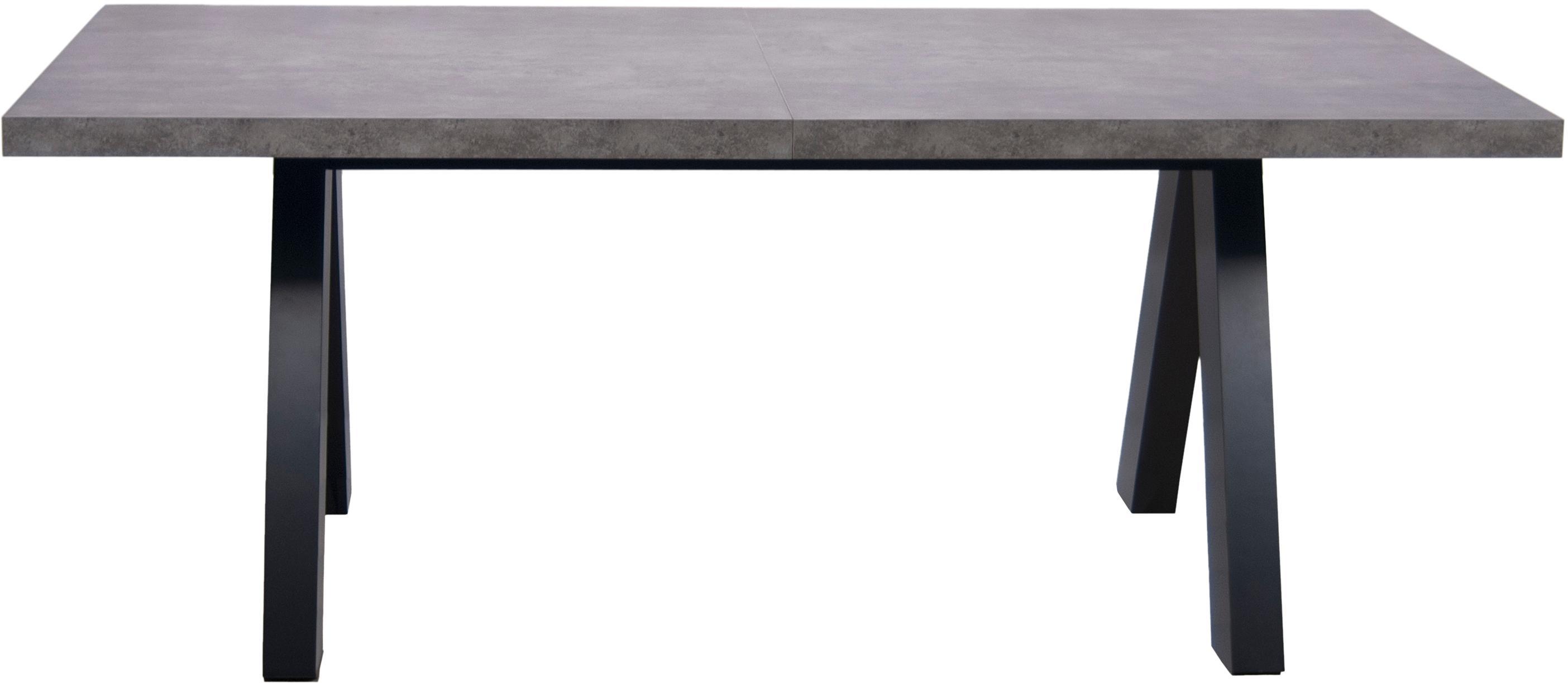Mesa de comedor extensible en cemento Apex, Tablero: estructura ligera de pana, Patas: fibras de densidad media, Imitación de cemento, negro, An 200-250 x F 100 cm