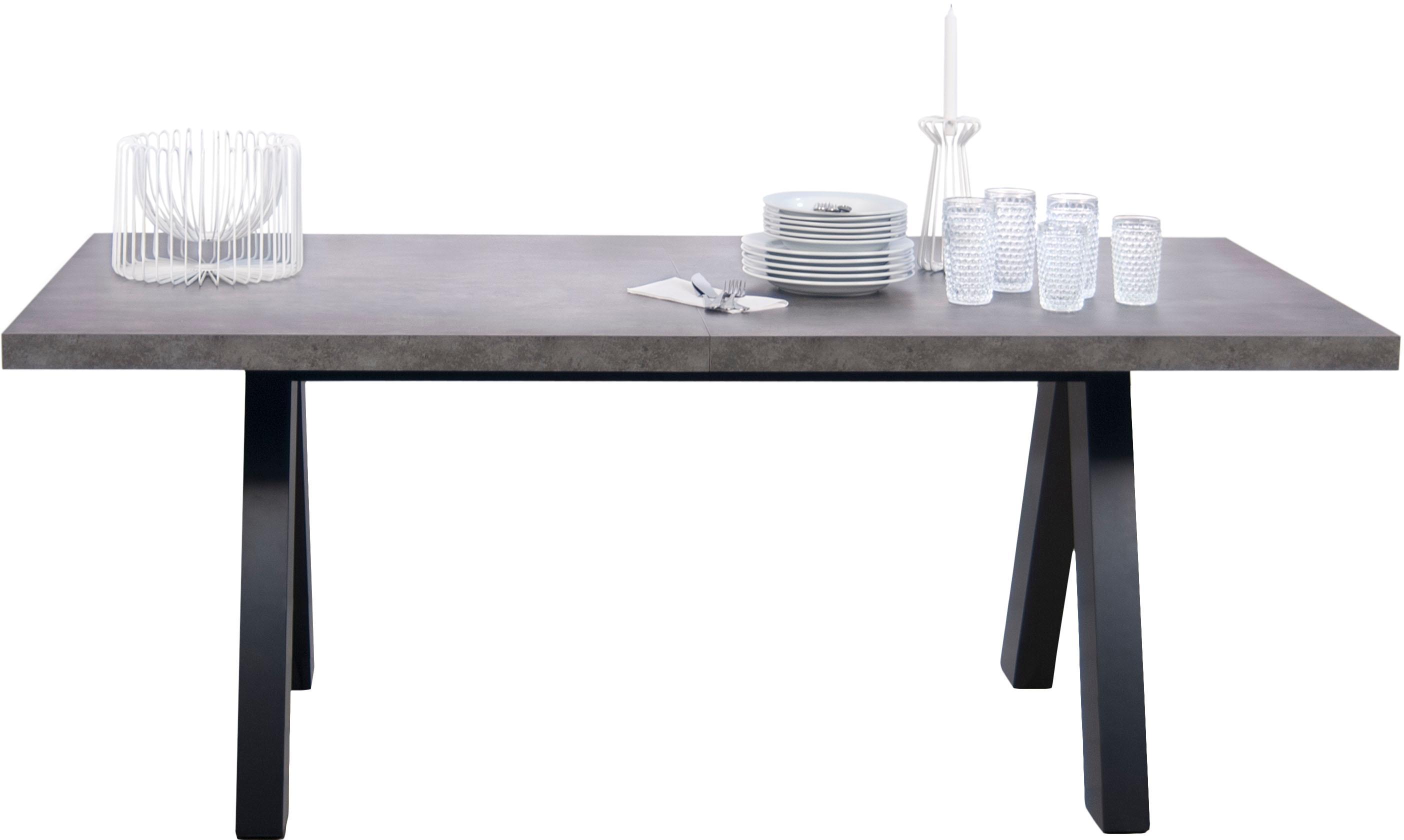 Verlängerbarer Esstisch Apex in Beton-Optik, Tischplatte: Leichtbau-Wabenstruktur, , Beine: Mitteldichte Holzfaserpla, Betonimitat, Schwarz, B 200 bis 250 x T 100 cm