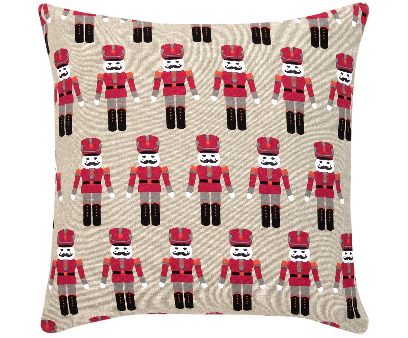 Federa arredo con motivo invernale Nutcracker, Cotone, Beige, rosso, Larg. 45 x Lung. 45 cm
