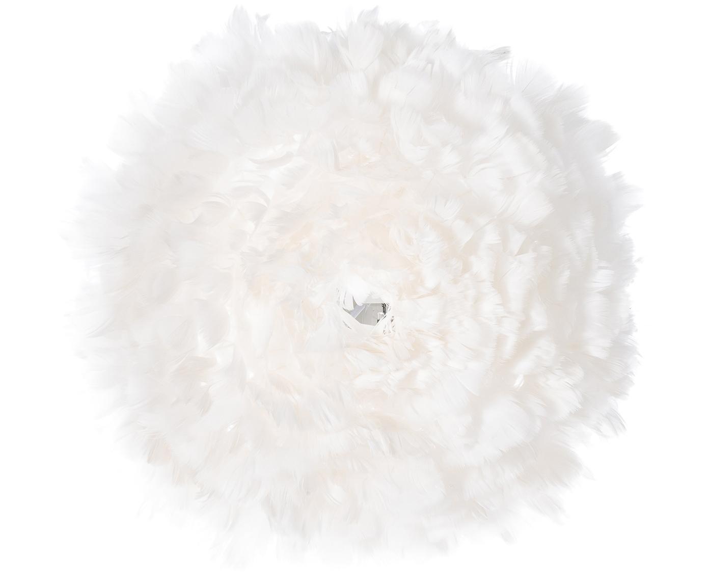 Plafón/aplique de plumas Eos Up, Pantalla: plumas de ganso, Fijación: acero, Blanco, Ø 40 x F 15 cm