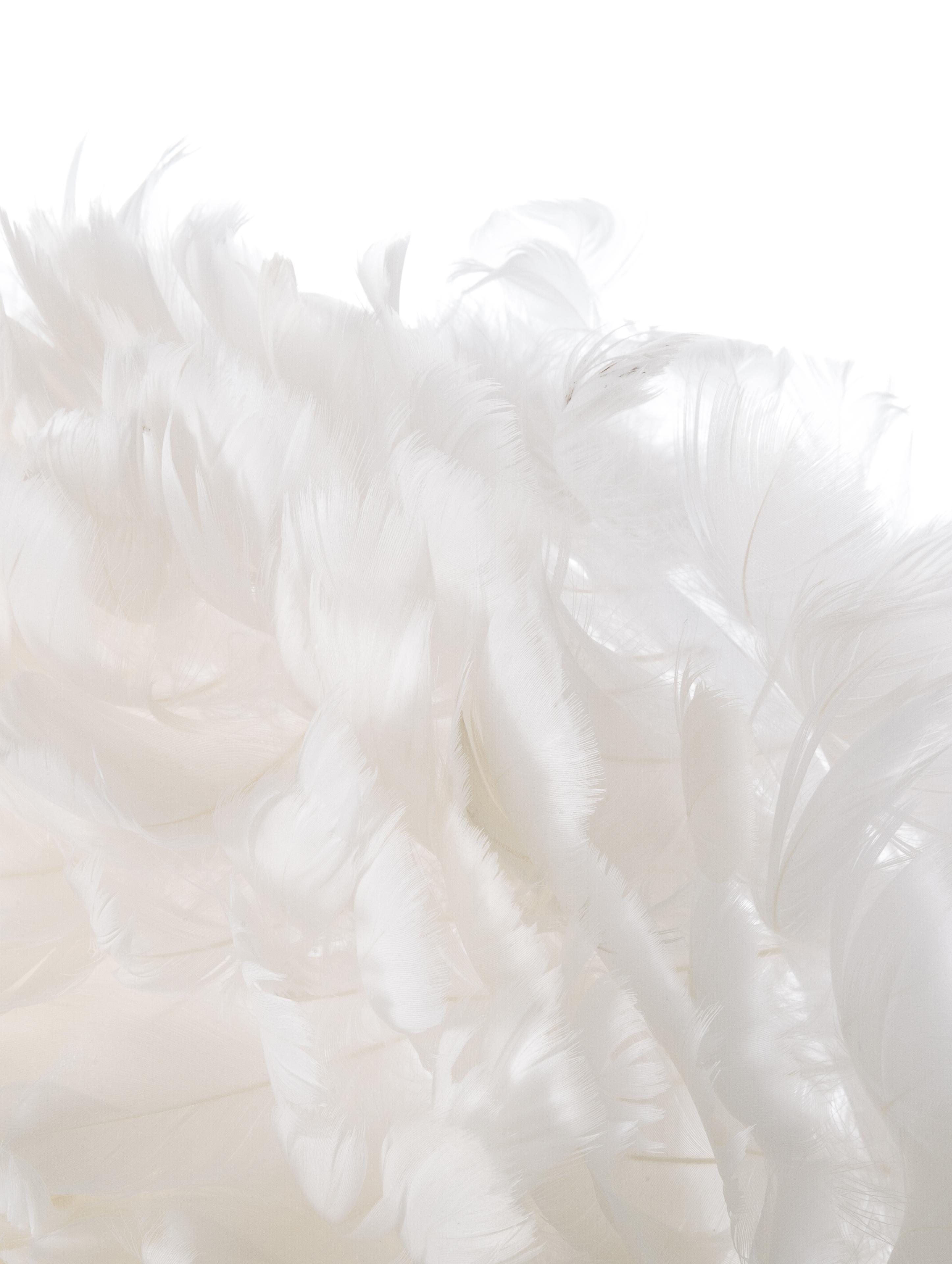 Decken- und Wandleuchte Eos Up aus Federn, Lampenschirm: Gänsefedern, Weiß, Ø 40 x T 15 cm