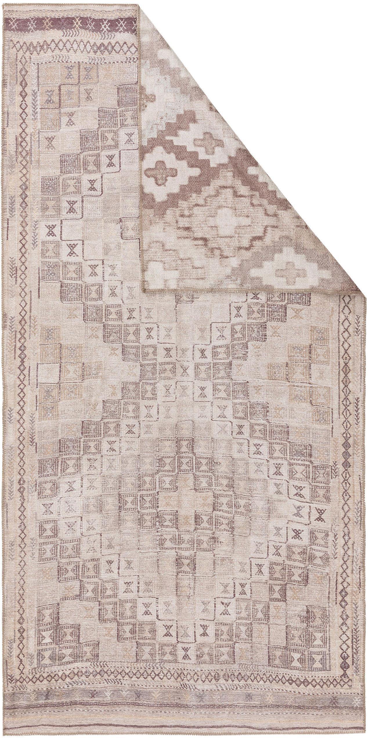 Alfombra reversible Ana Squares, estilo étnico, 80%poliéster, 20%algodón, Beige, gris pardo, An 75 x L 150 cm (Tamaño XS)