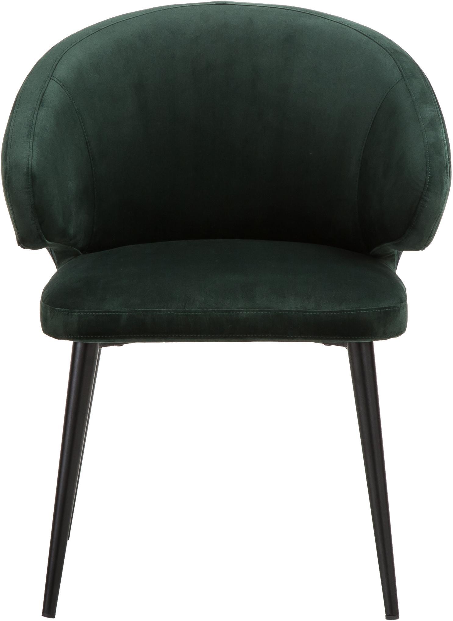 Chaise moderne en velours et à accoudoirs Celia, Vert foncé