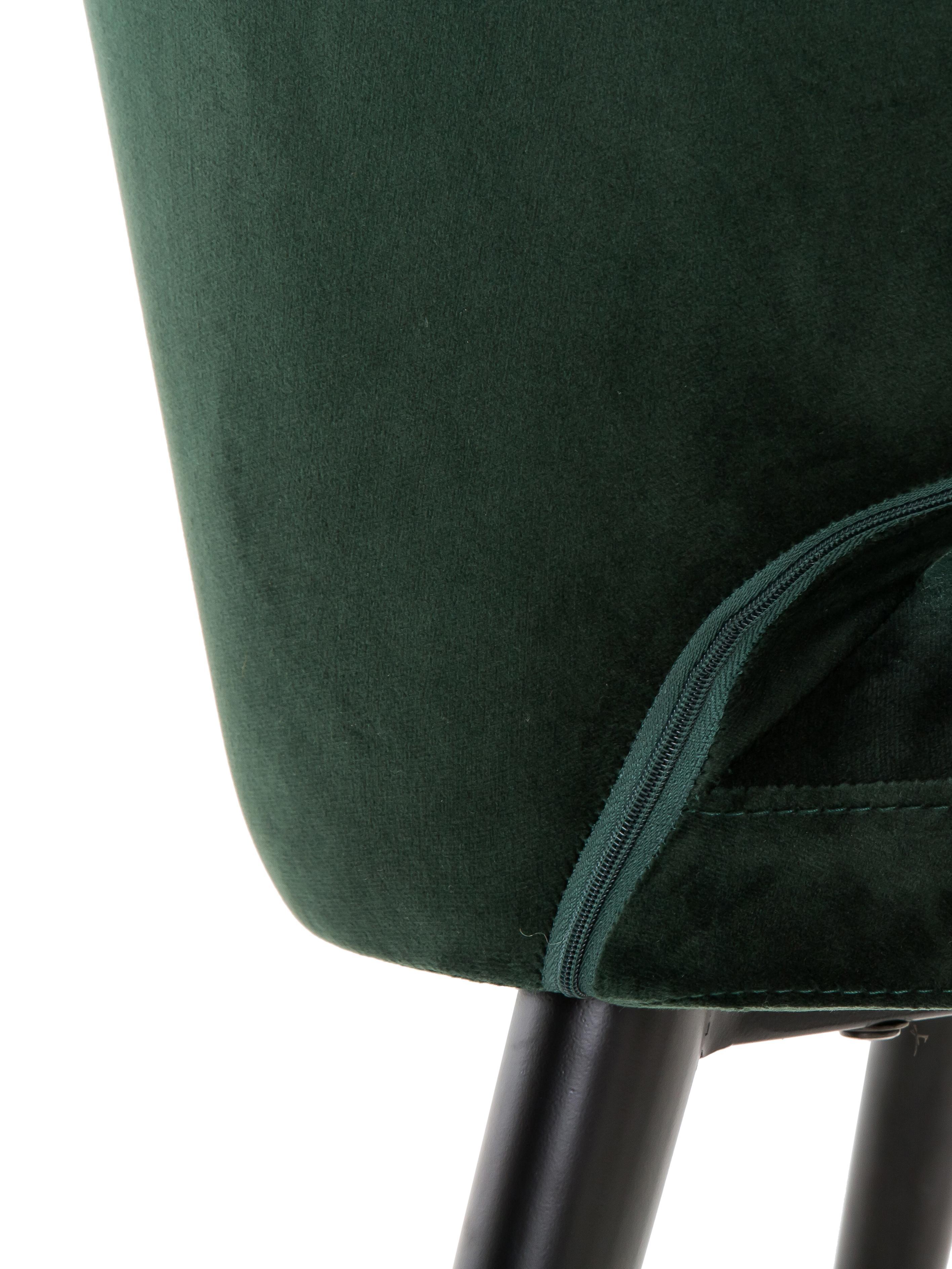 Samt-Armlehnstuhl Celia in modernem Design, Bezug: Samt (Polyester) 30.000 S, Beine: Metall, pulverbeschichtet, Samt Dunkelgrün, B 57 x T 62 cm