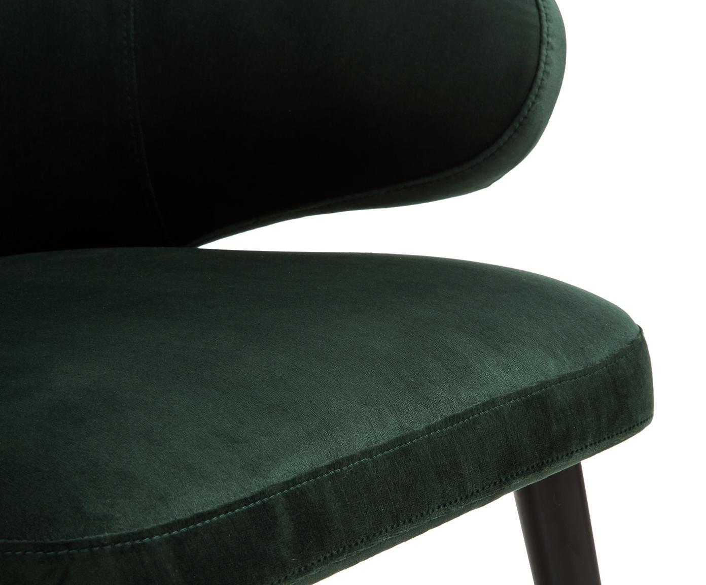 Krzesło z podłokietnikami z aksamitu Celia, Tapicerka: aksamit (poliester) Tkani, Nogi: metal malowany proszkowo, Ciemnyzielony, S 57 x G 62 cm