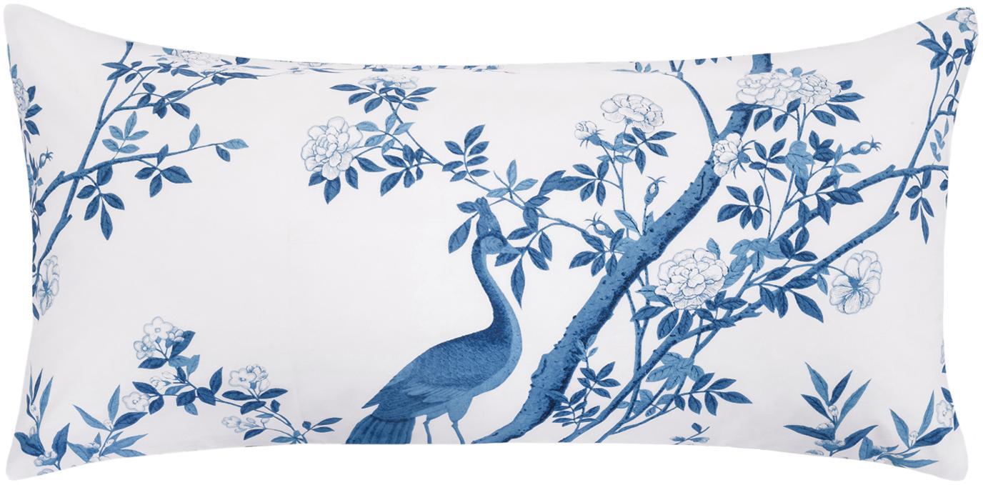 Baumwollperkal-Kissenbezüge Annabelle mit floraler Zeichnung, 2 Stück, Webart: Perkal Fadendichte 200 TC, Blau, Weiss, 40 x 80 cm