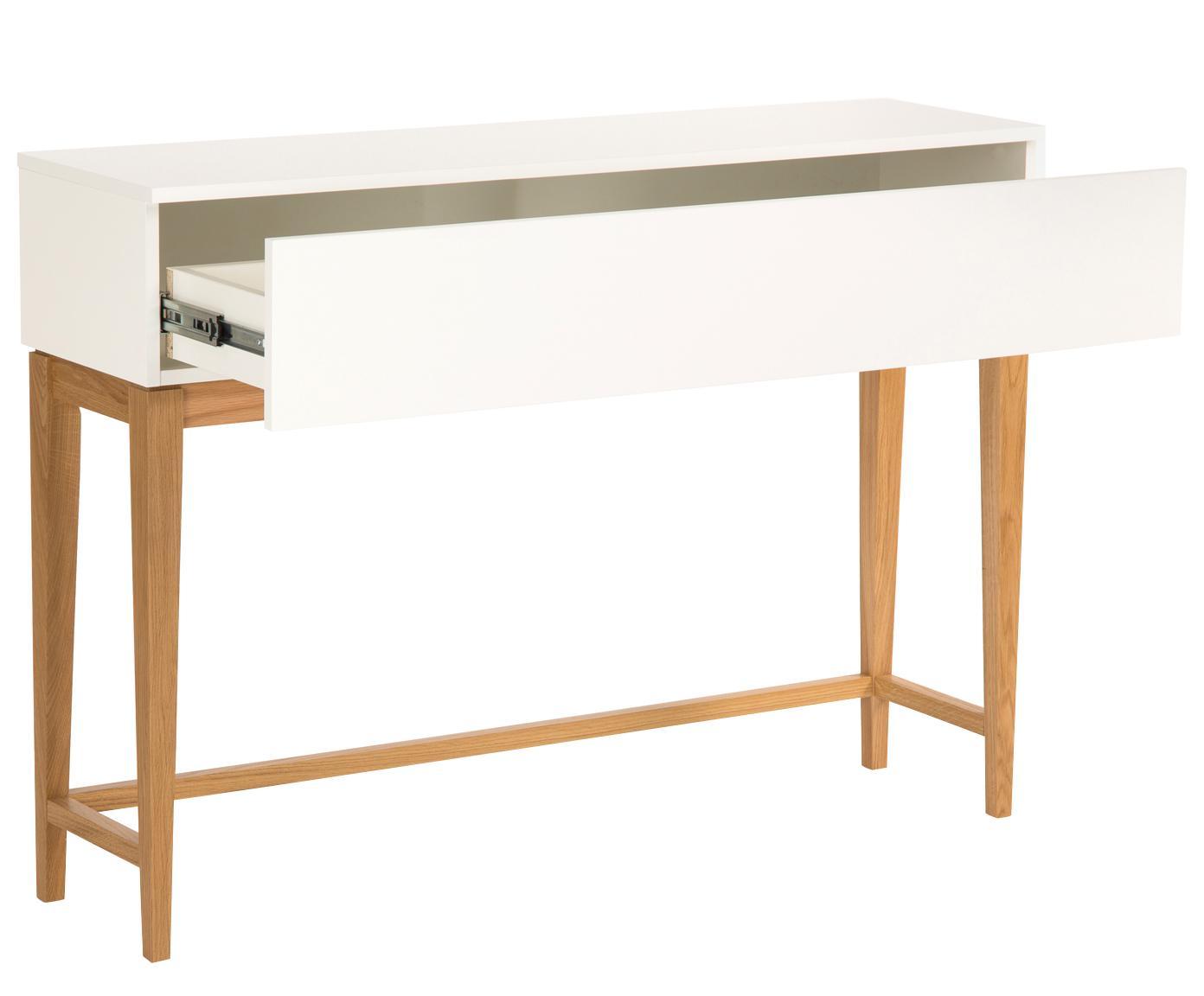 Konsole Blanco mit Schublade, Korpus: Spanplatte, melaminbeschi, Beine: Eichenholz, Weiss, Braun, B 120 x T 32 cm