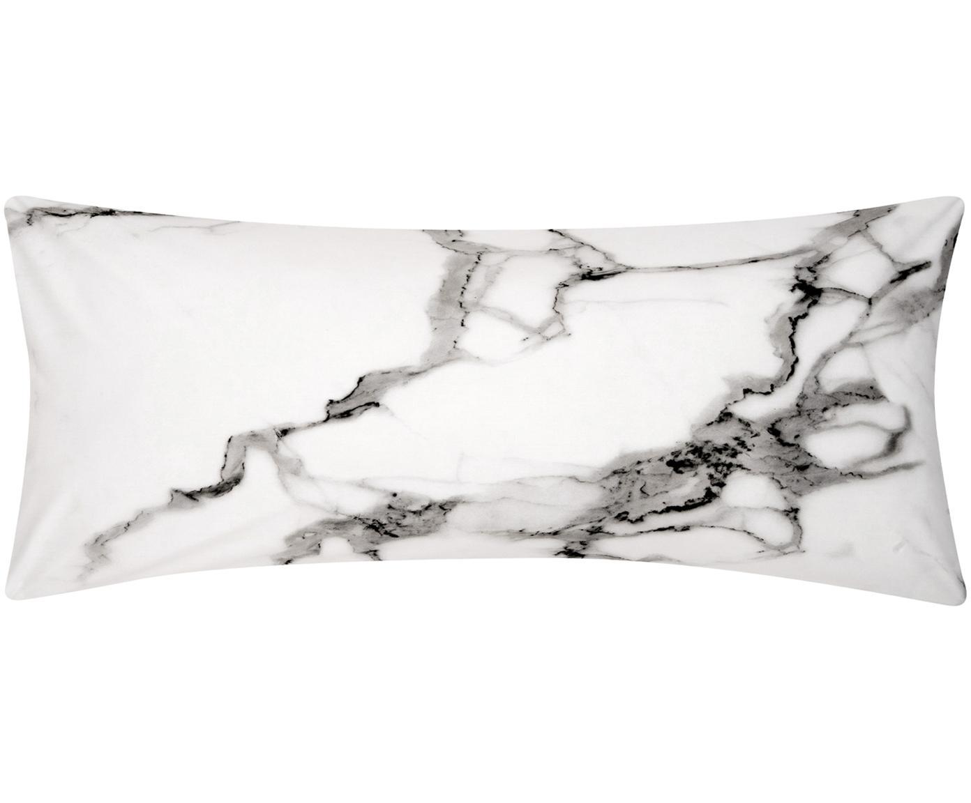 Funda de almohada de percal Malin, caras distintas, Gris, mármol gris, An 45 x L 110 cm