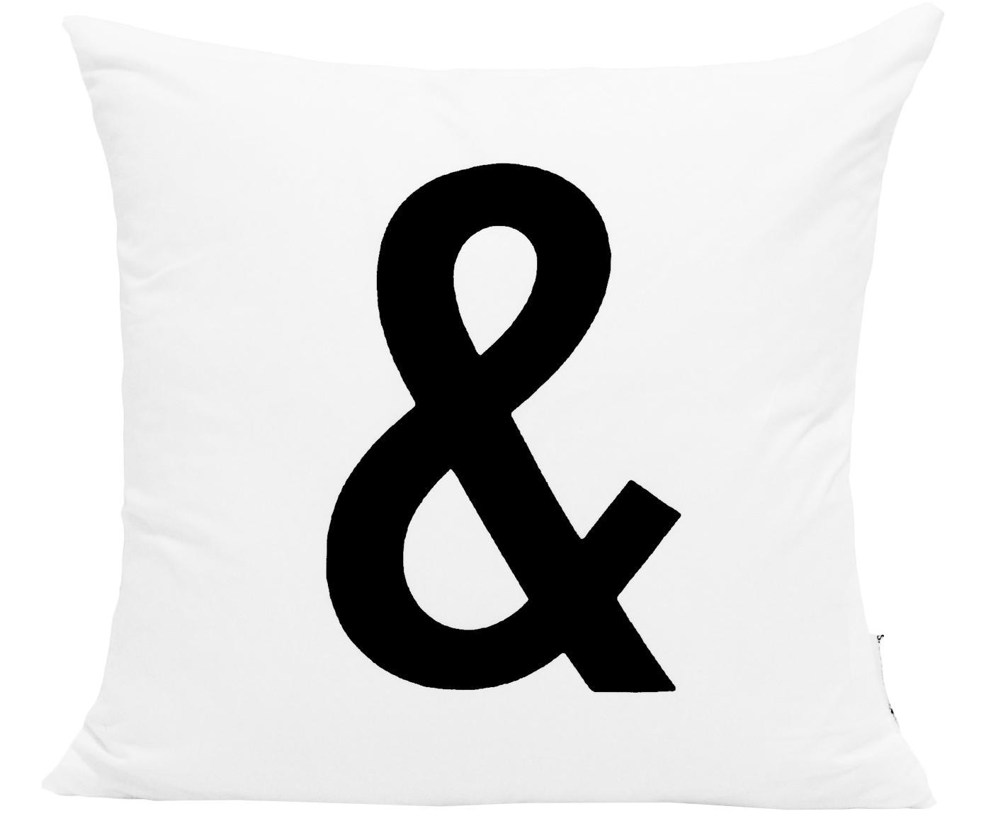 Kussenhoes Alphabet, Polyester, Wit met zwarte vlekken, 40 x 40 cm