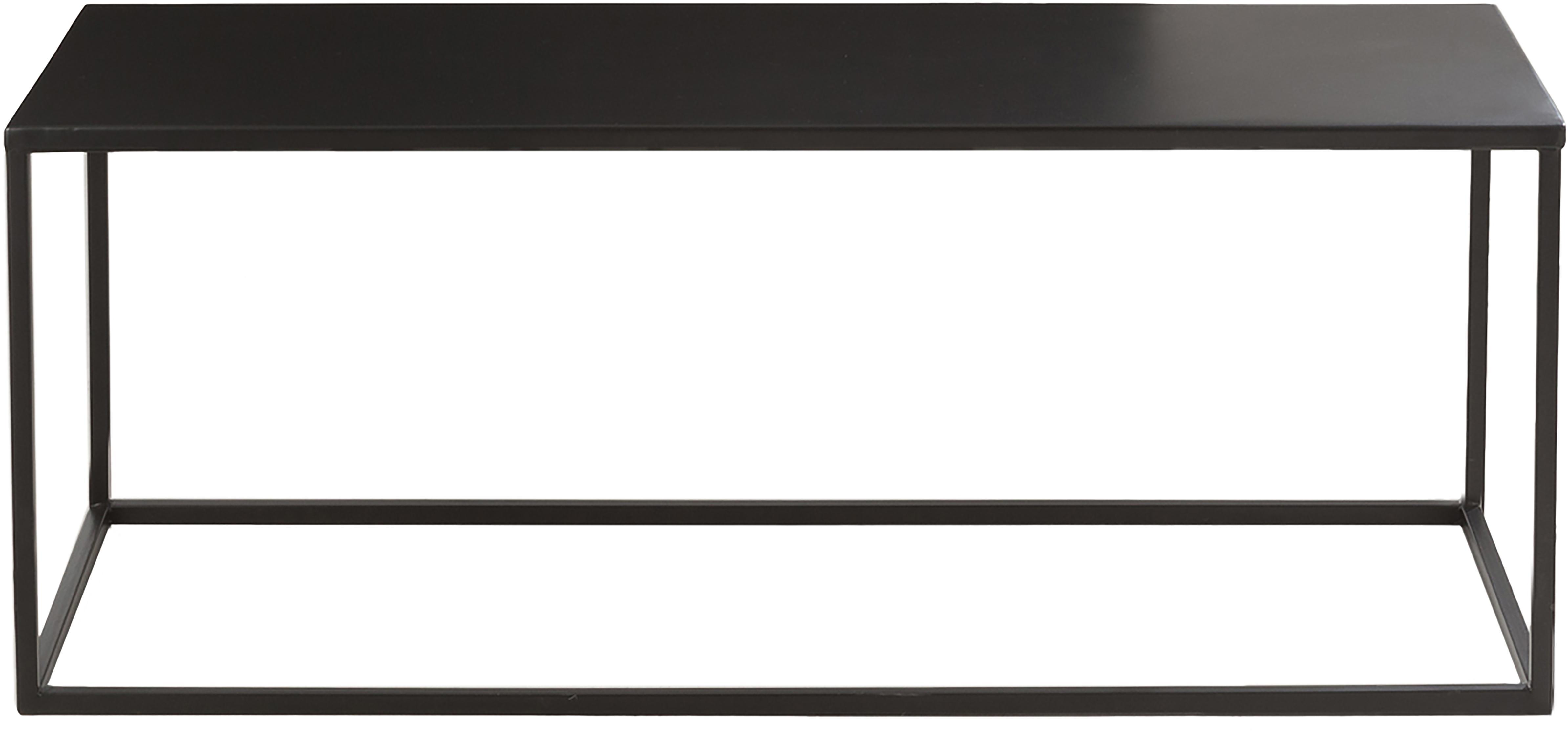 Couchtisch Stina aus Metall, Metall, pulverbeschichtet, Schwarz, matt, 90 x 45 cm