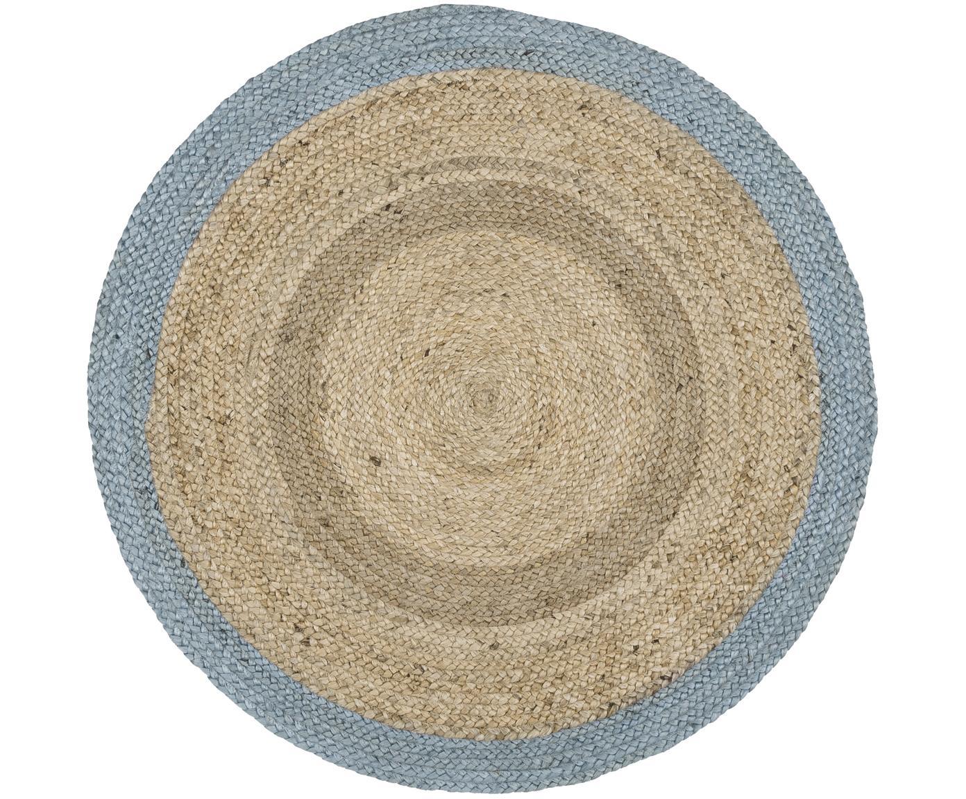 Alfombra redonda artesanal de yute Shanta, Parte superior: yute, Reverso: yute, Yute, gris azulado, Ø 100 cm (Tamaño XS)