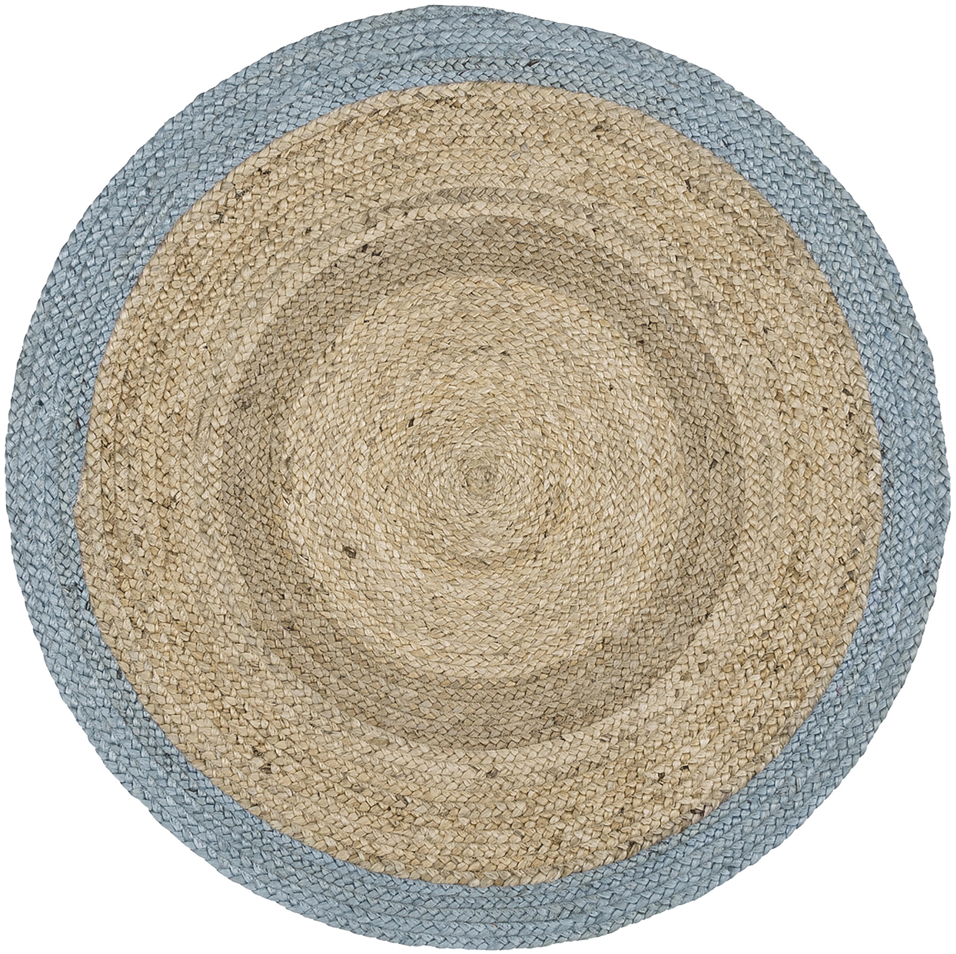 Runder Jute-Teppich Shanta mit blauem Rand, handgefertigt, Jute, Taubenblau, Ø 100 cm (Größe XS)