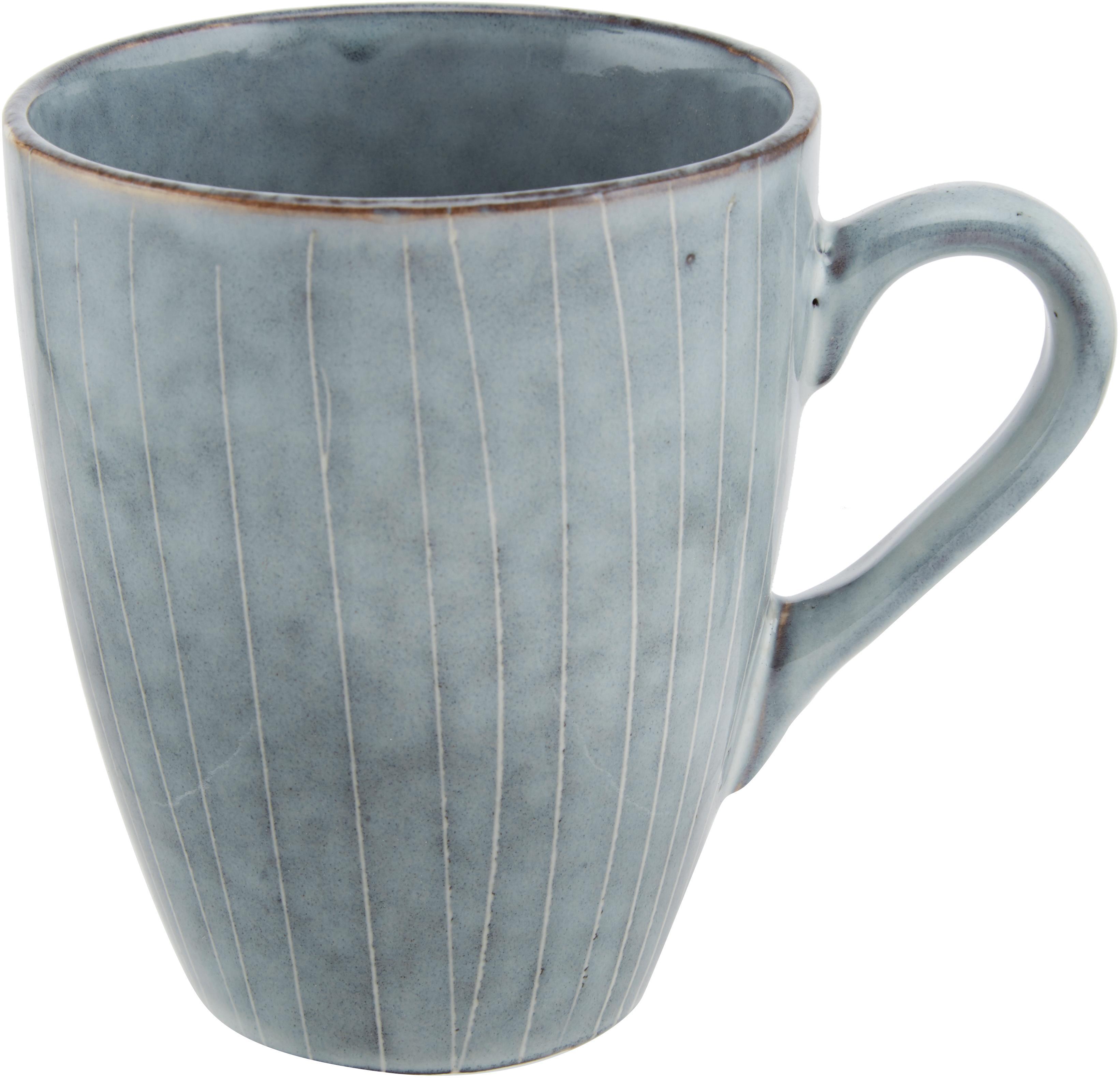 Handgemachte Tassen Nordic Sea aus Steingut, 6 Stück, Steingut, Grau- und Blautöne, Ø 10 x H 12 cm