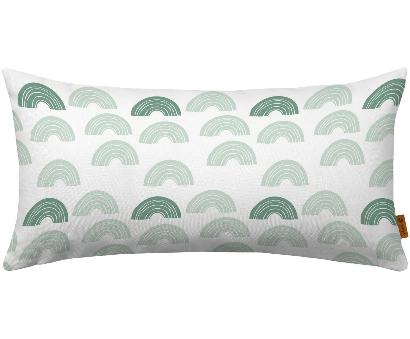 Cuscino imbottito con arcobaleni Rainbow Dreams, Rivestimento: cotone, Bianco, verde menta, verde, Larg. 30 x Lung. 60 cm