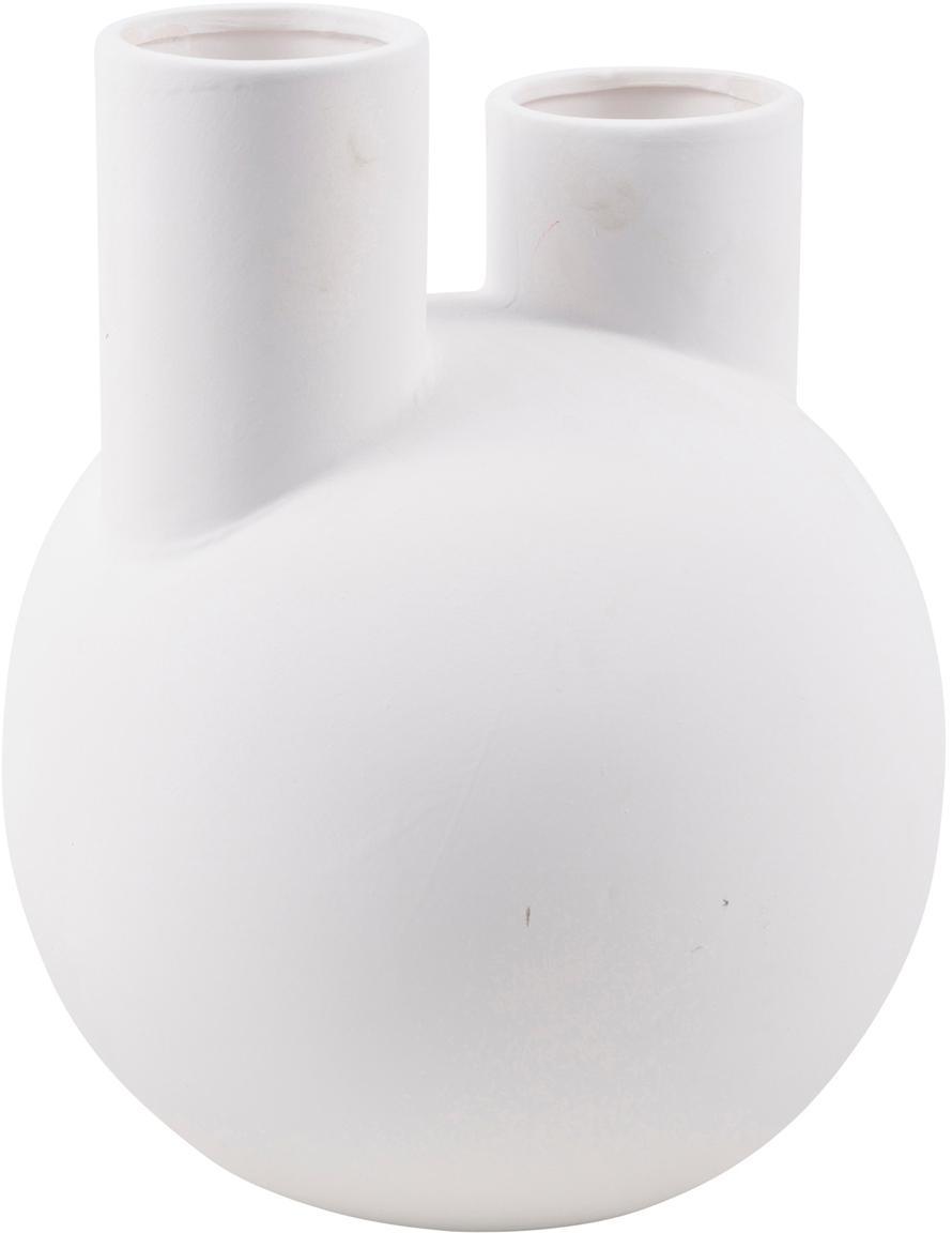 Jarrón artesanal de terracota Landon, Terracota, Blanco, Ø 18 x Al 24 cm