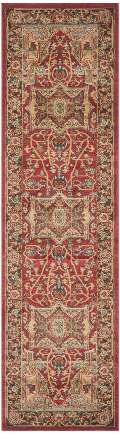 Alfombra Alberto, estilo oriental, 100%polipropileno, Rojo, multicolor, An 66 x L 243 cm