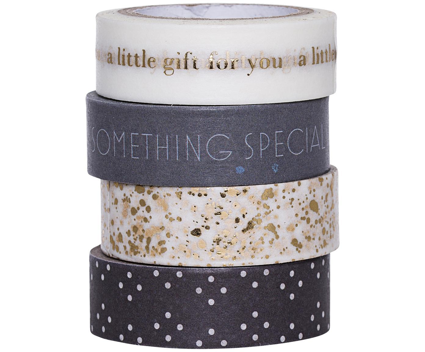 Plakbandset Special, 4-delig, Papier, Wit, goudkleurig, grijs, L 800 cm