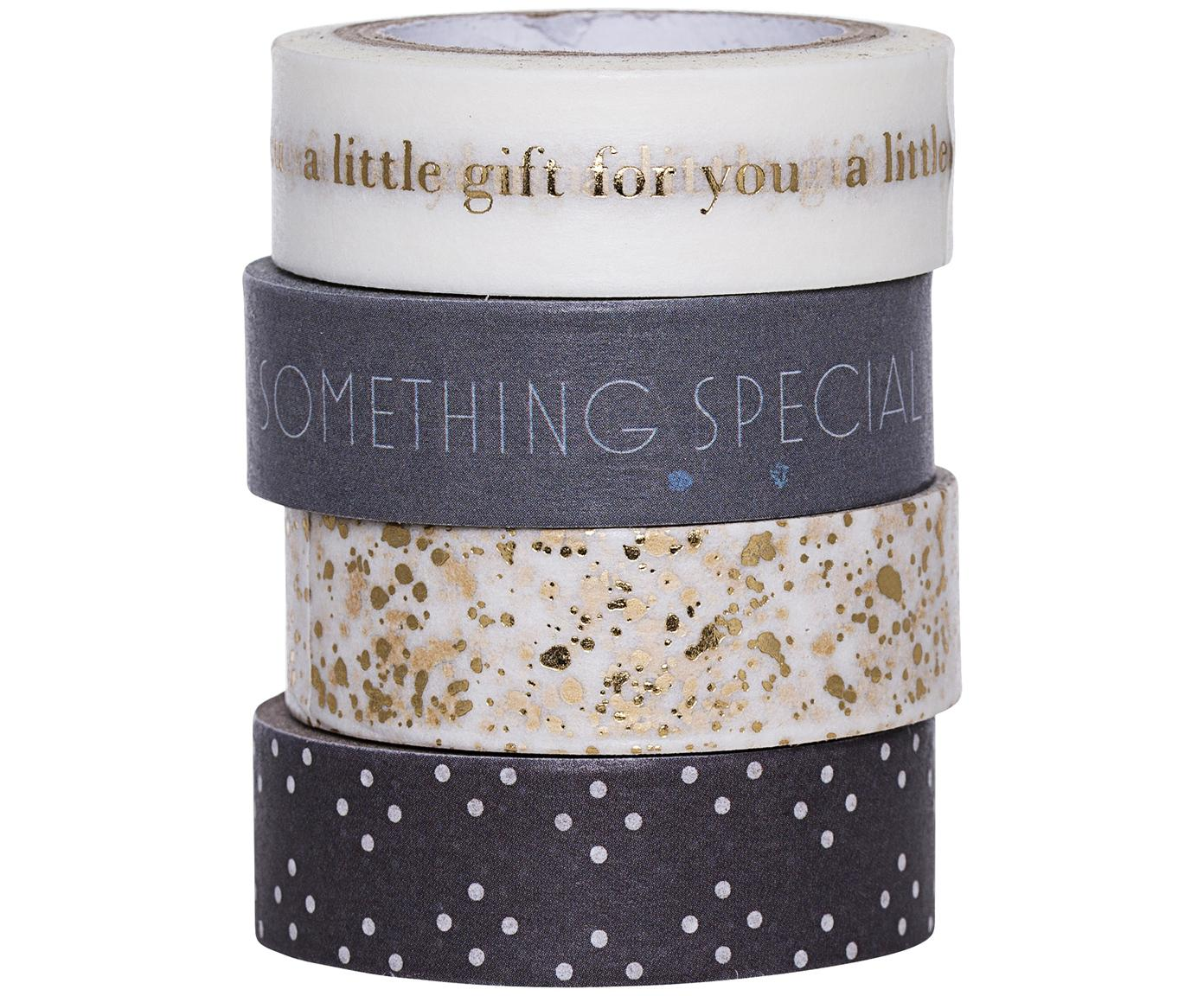 Set de cintas Special, 4pzas., Papel, Blanco, dorado, gris, L 800 cm