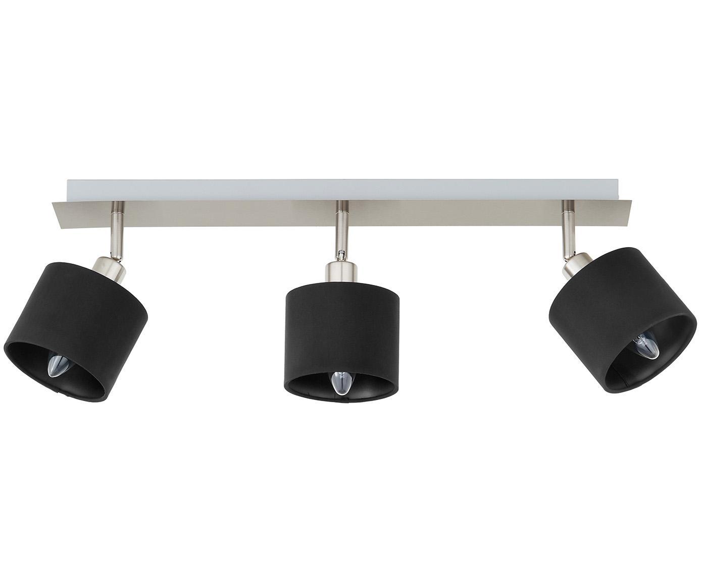 Plafondlamp Casper, Baldakijn: vernikkeld metaal, Zilverkleurig, zwart, 56 x 7 cm