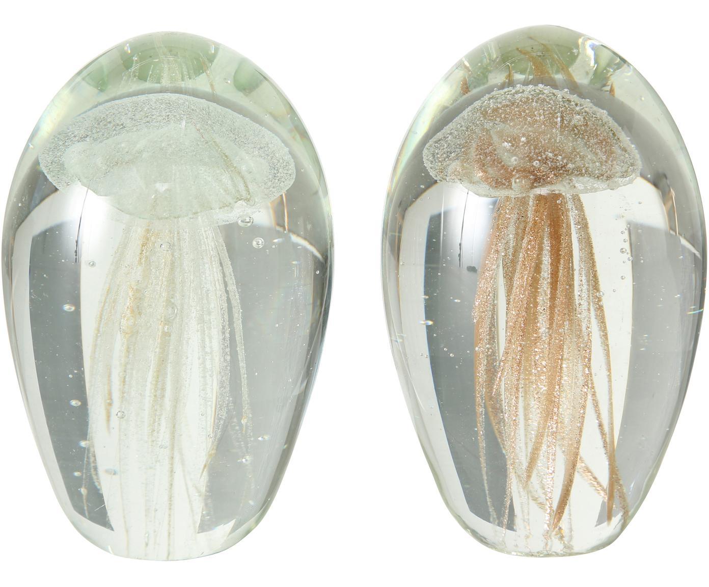 Deko-Objekte-Set Medusa, 2-tlg., Glas, Transparent, Ø 7 x H 10 cm