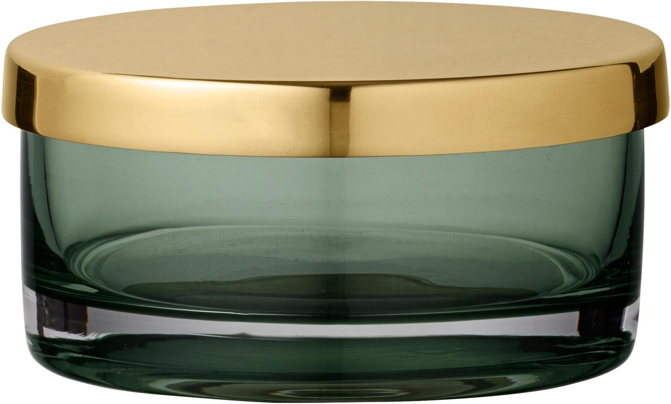 Aufbewahrungsdose Tota, Deckel: Messing, Dose: Glas, Deckel: Messing Dose: Hellgrün, transparent, Ø 9 x H 5 cm