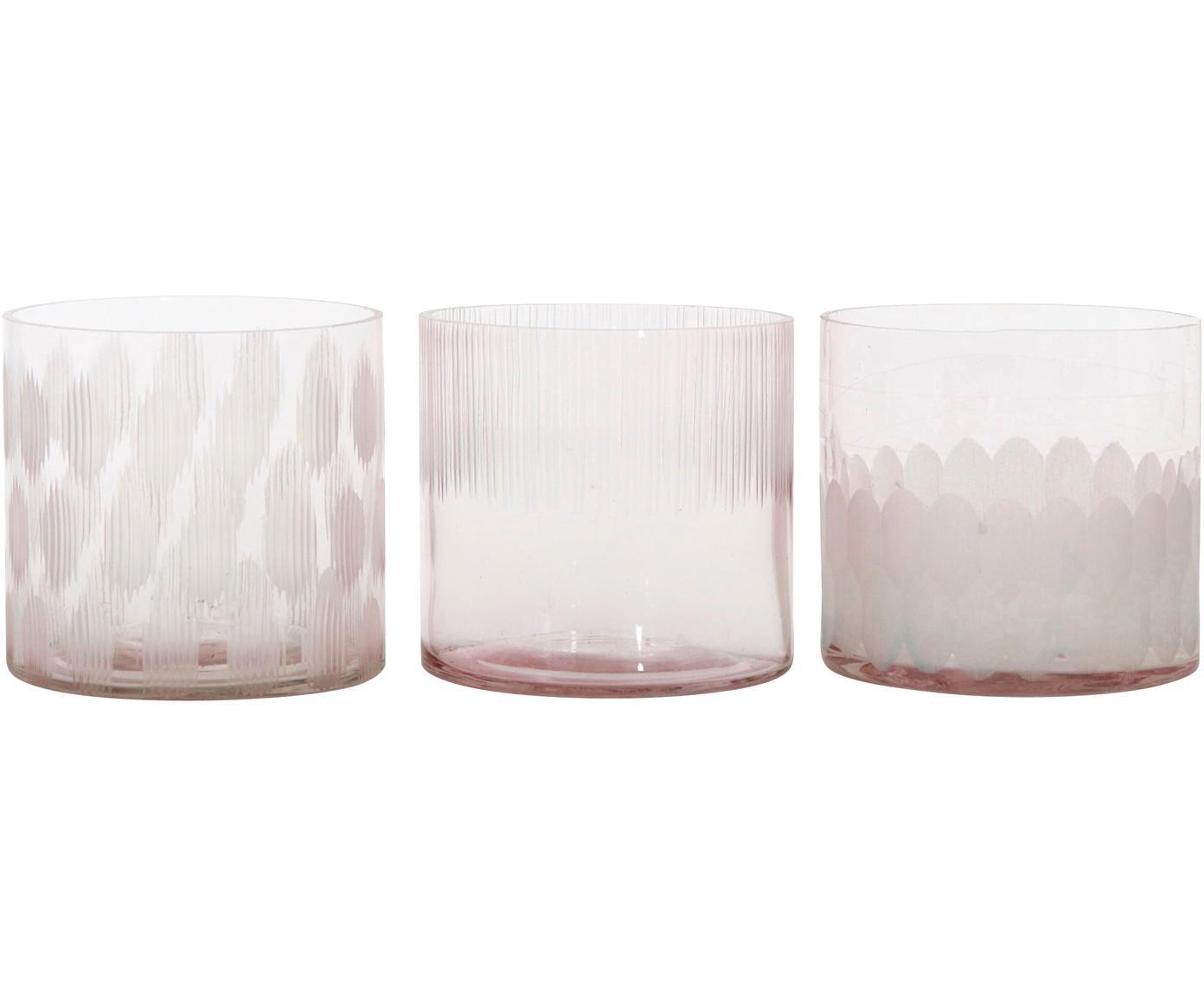 Windlichter-Set Cosmopol, 3-tlg., Glas, Rosa, Ø 8 x H 8 cm