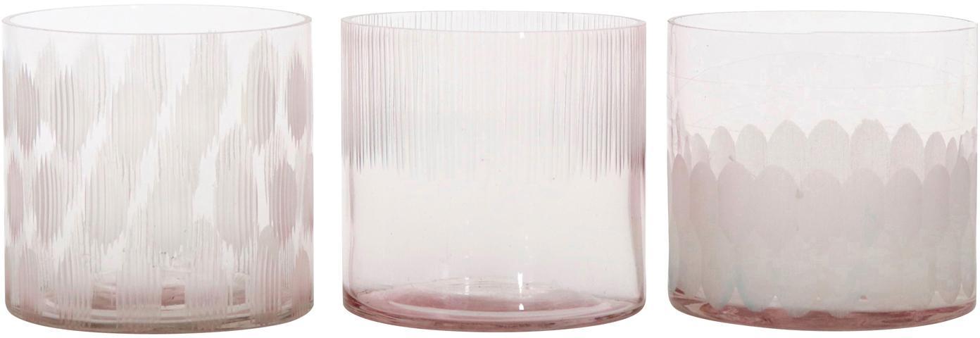 Windlichtenset Cosmopol, 3-delig, Glas, Roze, Ø 8 x H 8 cm